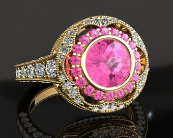 Pink Sapphire Engagement Ring Pink Sapphire Ring 14k or 18k Yellow Gold W33PKY