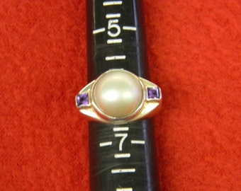 Sterling Silver 925 Precious Purl With Purple Stone Ring Size 6,5 ET: 6123