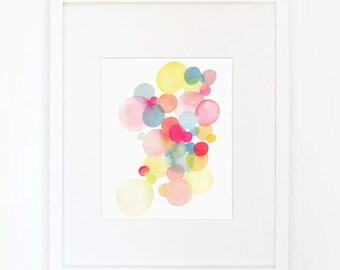Cluster in Magenta & Turquoise - Watercolor Art Print