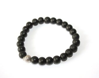 Matte Black Onyx Men's Bracelet - Stretch - Ready to Ship