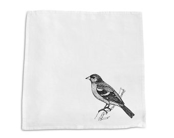 Screen Printed Napkin - Chaffinch -  100% Cotton- Handmade  -Eco Friendly Cotton Napkin