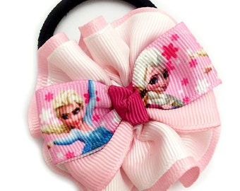 Handmade Frozen Double Layer Grosgrain Ribbon Ponytail Anna & Elsa