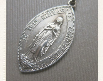 Antique French Silver Religious Immaculate Virgin Mary and Limoges Pilgrim St Martial medal - Oblong Jewelry pendant from France