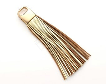 4009101 / Gold / Genuine Leather Tassel / Brown Gold Plated Brass Cap 17mm x 100mm / 9g / 50strands / 1pcs