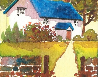 ACEO Original Watercolour, Welsh Cottage, Miniature Painting, Gift Idea, Art And Collectibles
