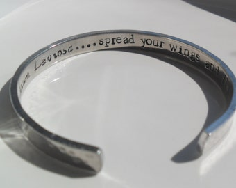 Personalized aluminum bracelet, hand stamped jewelry, adjustable bracelet,  inspirational bracelet, wedding gifts, friend bracelet