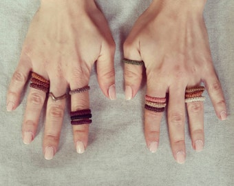 Macrame Ring / Minimalist Jewelry / Set of 10 Stacking Rings / Fiber Rings / Macramè Jewelry / Colours of your Choice / Colorful Band Rings