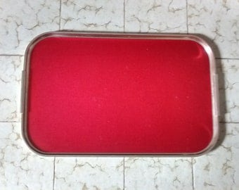 "Very Large Woodmet Tray 23""x14"", Red and Gold. Made in England. Kaymet"