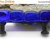 MOVING SALE.... Cobalt Blue Glass Cabinet Pull, Beach Glass, Kitchen, Bathroom, Cabinet Fixture, Colored Glass, Beach Decor, Nautical Decor,