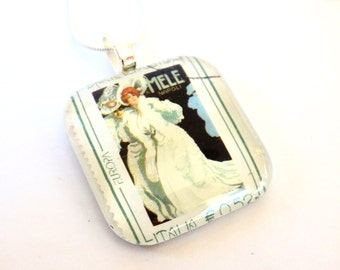 Italy Postage Stamp Glass Tile Pendant Necklace Mele Lady Napoli Italian Postal Art Recycled Material Upcycled Repurposed Paper Jewelry