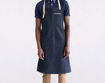 "Dahls"" raw indigo denim apron. Natural, veg-tan leather straps. Handmade"