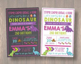 Girl Dinosaur Invitation, Girl Dinosaur Birthday Invitation, Girl Dinosaur Chalkboard Invitation, Dinosaur Invitation