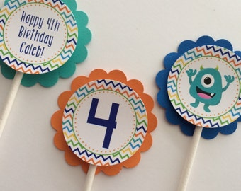 Boy Cupcake Toppers, 12 Boy Birthday Cupcake Toppers - Monster Bash, Monster  Birthday Party Decorations, Boy Birthday Party