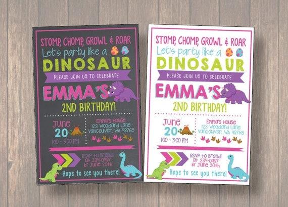 Girl dinosaur invitation girl dinosaur birthday invitation girl il570xn filmwisefo