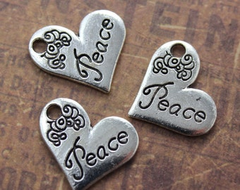 10 Peace Heart Charms Peace Sign Pendants Antiqued Silver Tone 17 x 15 mm