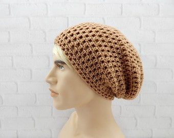 Slouchy Beanie, Crocheted Beanie, Slouchy Hat for Men, Baggy Beanie, Grunge Hat, Slacker Beanie, Baggy Cap, Winter Hat Mens, Light Brown Hat