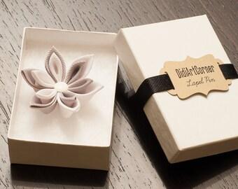 Lotus White and Gray Kanzashi Flower Lapel Pin, Lapel Flower Pin, Flower Lapel Pin, Men's Lapel Pin