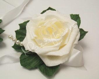 Bridal corsage, bracelet, wedding corsage,paper flower, corsage for mothers, paper flowers, roses,wedding flower.