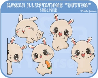 Instant Download Bunny Clipart // Bunny Clipart // Rabbit Clipart // Kawaii Clipart // Cute Clipart // Carrot // Bunny // Cute
