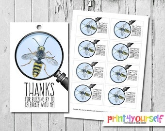 Bugs favor tags - Bee favor tags - Bug Birthday - Printable Favor Tags - birthday favor tags - gift tags - thank you tags - birthday