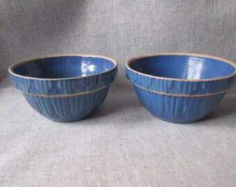 TWO Blue Stoneware Bowls - Picket Fence Pattern