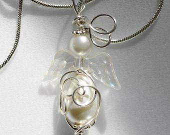 Glass Pearl Angel Pendant