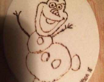 Olaf-Frozen Wood Burned Ornament