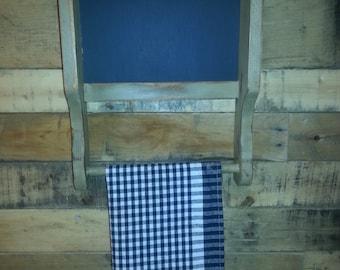 Distressed primitive chalkboard/towel holder