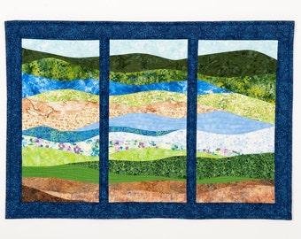 Art Quilt Landscape Abstract Tritych, Landscape wall quilt, landscape quilt, landscape wall hanging