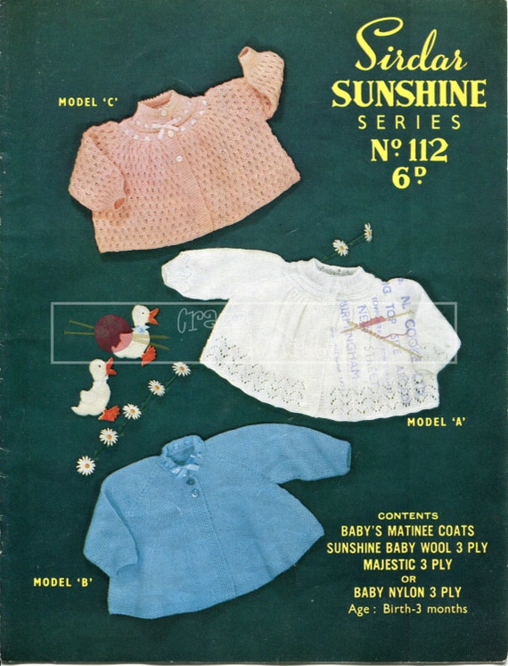 Baby Matinee Coats 0-3 months 3-ply Sirdar 112 Vintage Knitting Pattern PDF instant download