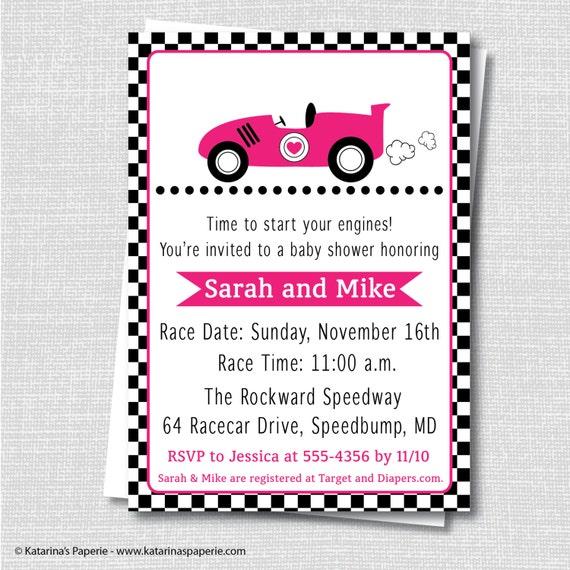 girl pink race car baby shower invitation girl baby shower digital