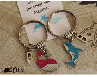 Set of 2 Personalized Dolphin and Whale Keychains Best Friends Keychain His and Hers Couple Keychains Valentine's Keychains