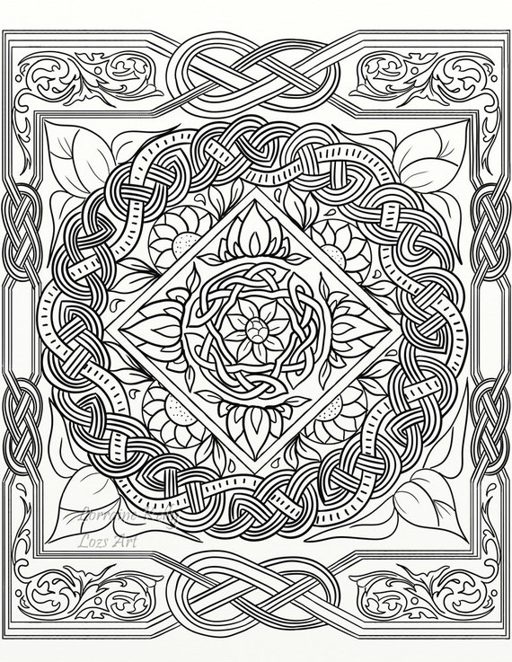 5 x celtic knot adult coloring pages instant pdf download diy for Celtic knot mandala coloring page