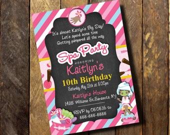 Spa Party Invitation,Spa Party Invitations, Invitations Spa Party, Chalkboard Invitation, Spa Birthday,Birthday Invitation,Digital/printed