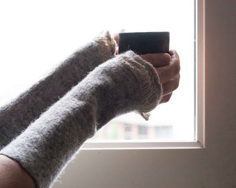 Mittens Beige Felted Arm Warmers /  Fingerless Gloves / Cuffs /  Eco friendly Natural wool