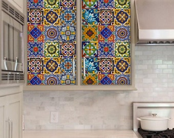 Kitchen/bathroom backsplash Tile/Wall/stair decal  : Mexican style- 11 DESIGNS = 44 pcs