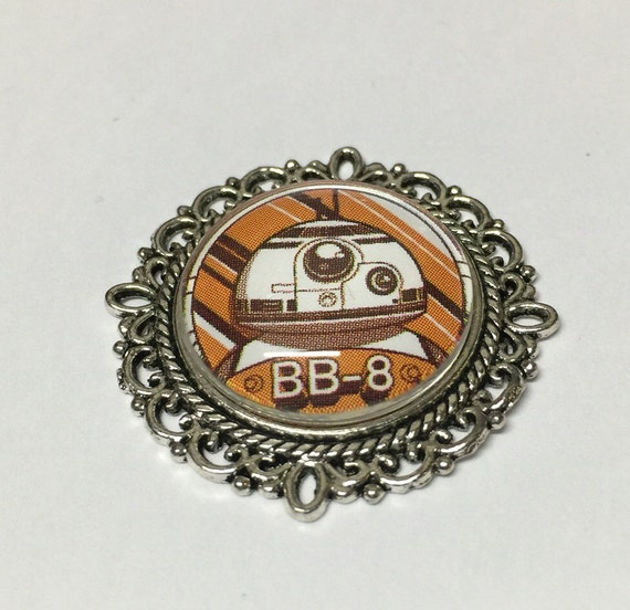 bb8 bb 8 cameo brooch necklace or badge reel disney by