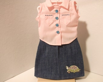 Dolls 2 piece denim skirt and blouse