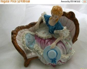 Vintage Victorian Lady on Settee - vintage porcelain - collectables - French decor - porcelain lady - Victorian lady - vintage figurines