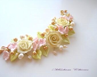 Bracelet with pearls, wedding bracelet, roses, ivory color