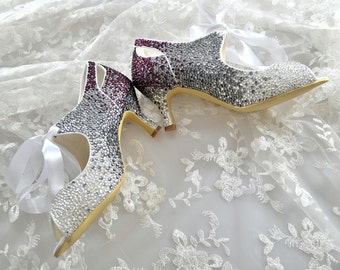 Custom Vintage Victorian style Purple Grey Swarovski Crystal ombre low mid heel bridal peeptoe satin ankle boot with satin ribbon tie-up
