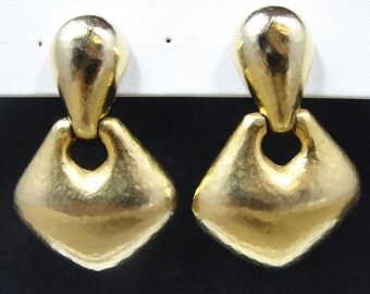 Vintage Brushed Gold Dangle Earrings Clip Back Big Bold Fun!