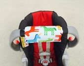 Car Seat ARM PAD Handle Cushion-REVERSIBLE- Cute Red Yellow Blue Horses, Unicorn
