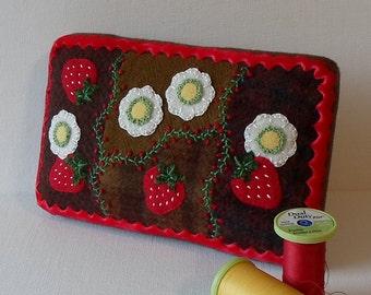 Handmade Needle Cushion Felted Wool Strawberries & Blossoms Pincushion
