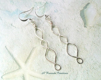 Wirework Earrings / Silver Wire Work Infinity Earrings / Hand Forged Wire Earrings / Wire Jewelry / Coworker Gift / Gift for Her Under 10