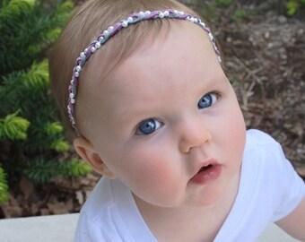 Baby Headband, Suede Headband, Purple Headband, Infant Headbands, Gray Headband, Pearls Headband, Baby Headpiece, Braided Headband,