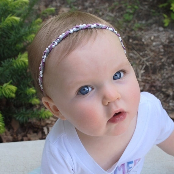Braided Headband, Suede Headband, Purple Headband, Infant Headbands, Gray Headband, Pearls Headband, Baby Headpiece, Braided Headband,