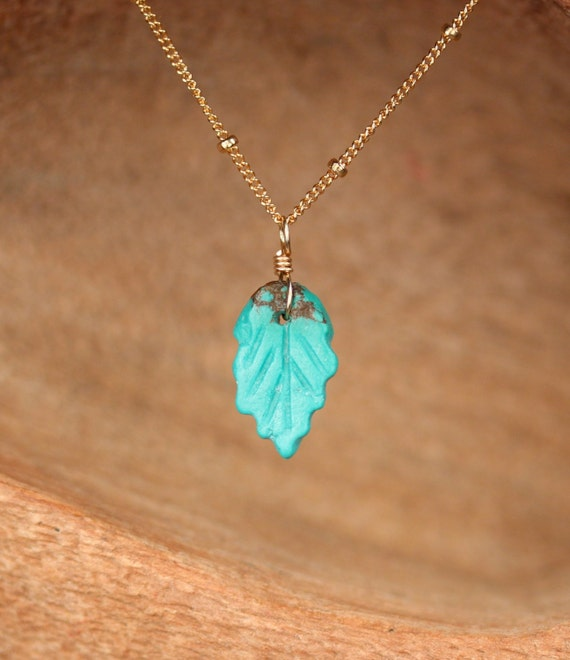 Turquoise leaf necklace - natural turquoise necklace - a wire wrapped hand carved turquoise leaf on a 14k gold filled satellite chain leaf