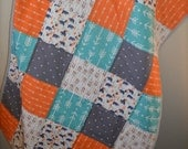 Orange, Gray and Teal Arrow Baby Quilt / Tribal / Bear Crib Quilt / Nursery Bedding