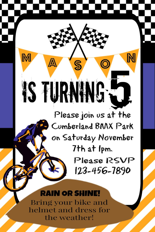 Dirt Bike Party Invitation, Dirt Bike Theme Party, BMX Party ...
